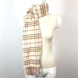 Authentic Burberry Cashmere Pink Checkered Scarf